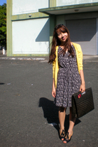 black thrifted dress - yellow thrifted cardigan - black from paris shoes - black