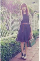 green bag - beige Ferretti clogs - deep purple skirt - giordano cardigan