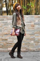 green bfs shirt - vest - dark brown thrifted boots - vintage purse - mustard f21