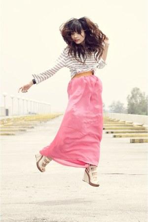bubble gum Redhead dress - white striped thrifted shirt - beige michael antonio