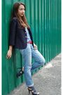 Thrifted-shirt-blue-bazaar-jeans-blue-vintage-blazer-blue-parisian-shoes-