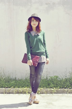 floral wedges - giordano jeans - black hat - green Zara sweater