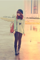black boots - black jeans - aquamarine sweater - brown bag