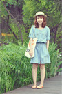 Light-blue-denim-dress-eggshell-hat-orange-flats