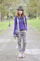 heather gray jeans - purple sweater - wedges