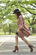 kimono cape - boots - Forever 21 hat