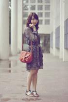 black floral thrifted dress - burnt orange Ferretti purse - Gibi sandals