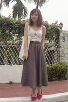 white top - charcoal gray vintage skirt - red Topshop flats
