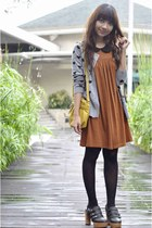 burnt orange Topshop dress - mustard Ferretti bag - heather gray WAGW cardigan -