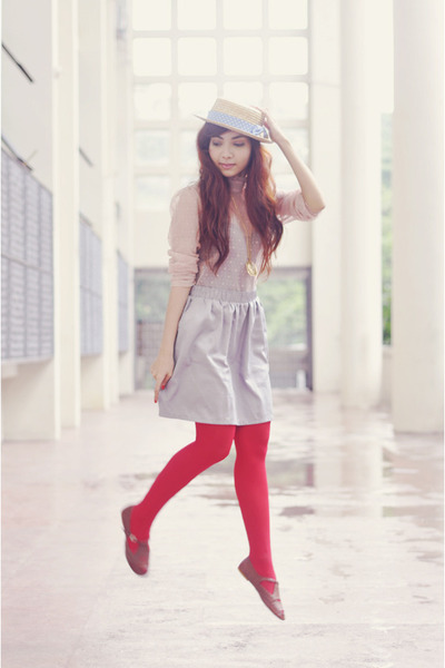 red tights - brown Hebe Manila shoes - beige boater hat