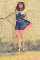 beige H&M hat - blue gozum dress - Gibi sandals
