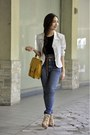 Thrifted-blazer-topshop-jeans-tan-parisian-shoes-mustard-gold-dot-bag
