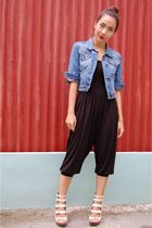black get laud - blue thrifted jacket - beige michael antonio shoes