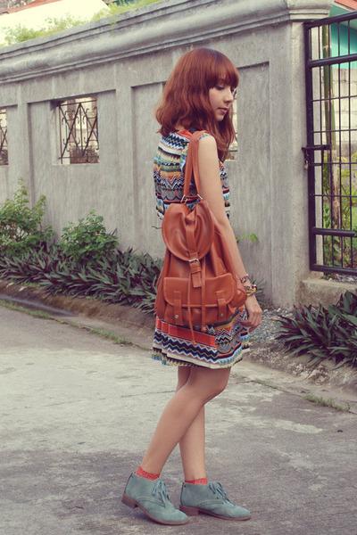 orange aztec print Shopaholic dress - sky blue So Fab boots - brown bag