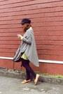 Tan-primadonna-loafers-light-yellow-dress-black-topshop-hat-brown-bag