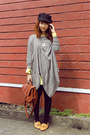 Light-yellow-dress-black-topshop-hat-brown-bag-heather-gray-cape