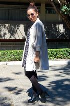 Blanc Et Noir dress - black Parisian shoes - beige thrifted coat