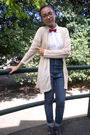 White-kob-shirt-topshop-jeans-beige-thrifted-cardigan-blue-parisian-shoes-