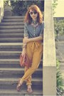 Blue-denim-giordano-shirt-brown-hebe-manila-flats-mustard-pants-necklace