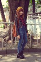 black jacket - black boots - topshop jeans - mustard f21 hat - red shirt
