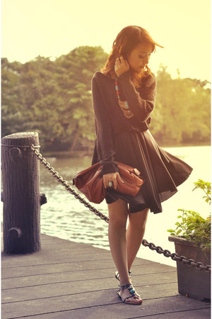 black romwe dress - black sweater - brown purse - black sandals - teal necklace