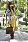 Vintage-boots-mustard-tomato-dress-houndstooth-thrifted-purse-heather-gray