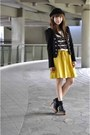Black-thrifted-blazer-mustard-kob-skirt-gold-dot-clogs