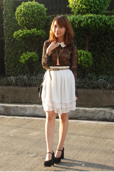 white skirt - black heels - black blouse - salmon necklace - camel belt