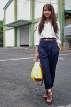 white vintage blouse - blue vintage pants - brown thrifted belt - brown Parisian