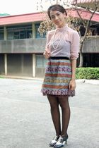 pink vintage blouse - thrifted skirt - ilaya shoes - black SM tights - white vin