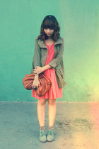 sky blue boots - salmon jacket - olive green jacket - brown purse