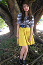 White-dorothy-perkins-shirt-yellow-kob-skirt-black-parisian-shoes