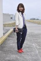red brogue gozum shoes - white thrifted blazer - white Club Monaco shirt