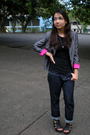 Black-random-shirt-gray-thrifted-blazer-blue-bossini-jeans-black-parisian-