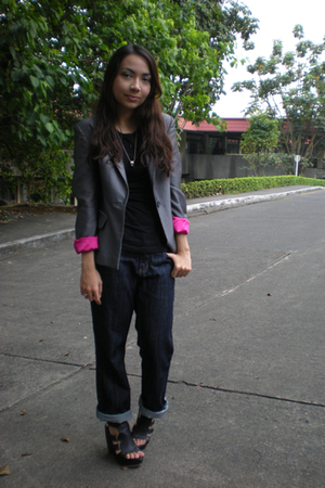 black random shirt - gray thrifted blazer - blue Bossini jeans - black Parisian 