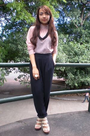 pink thrifted blouse - black thrifted pants - beige michael antonio shoes