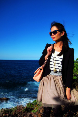 blazer - tights - bag - top - skirt - necklace
