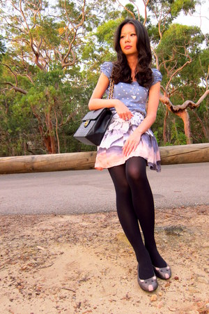 tights - bag - skirt - necklace - t-shirt - flats
