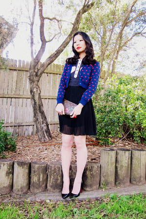 dress - tights - bag - ring - cardigan - heels