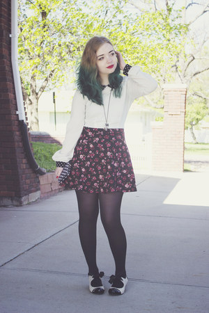 Forever 21 blouse - modcloth shoes - Forever 21 skirt - Rue 21 wallet