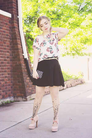 romwe top - Etsy tights - Topshop skirt - Forever 21 pumps - Forever 21 necklace