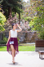 Clear-acrylic-forever-21-bag-nude-dolce-vita-wedges-high-low-h-m-skirt