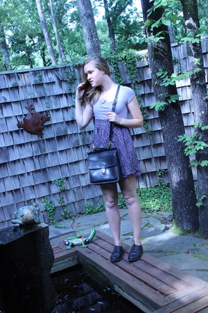 modcloth necklace - vintage shoes - Urban Outfitters dress - leather coach bag