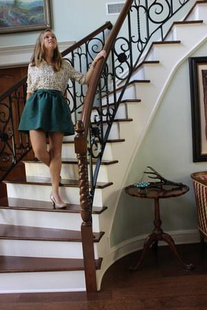 teal bow skirt urbanoutfitters skirt - Forever 21 shirt