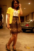 gray CMG shoes - black thrifted dress - yellow The Circus Act cardigan - black L