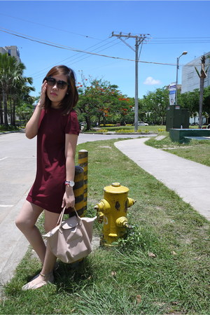 beige Zara shoes - maroon Topshop dress