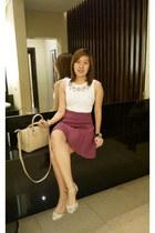white Topshop top - amethyst Pink Manila skirt