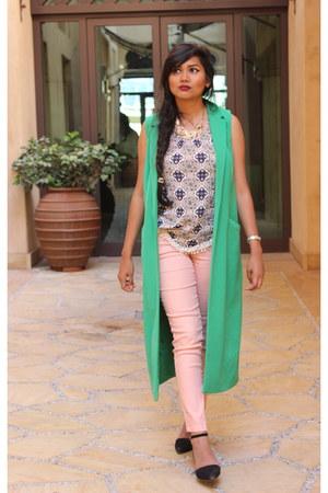light pink H&M pants - green Stradivarius blazer - H&M top - black Mango flats