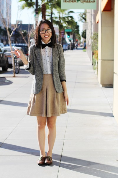 camel tweed Urban Outfitters blazer - brown oxfords Steve Madden shoes