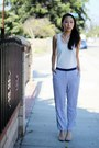 Blue-h-m-pants-ivory-silky-nordstrom-blouse-orange-zara-heels